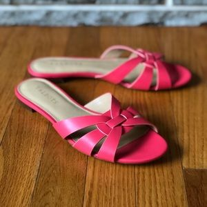 Talbots hot pink mule sandals size 8 leather woven